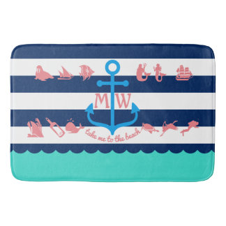 Make Your Own Nautical Summer Fun Anchor Stripes Bath Mat