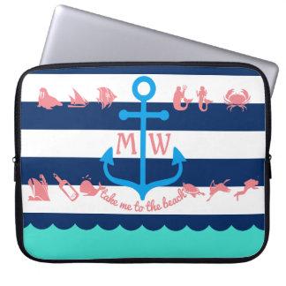 Make Your Own Nautical Summer Fun Anchor Stripes Computer Sleeve