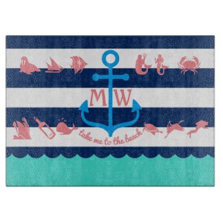 Make Your Own Nautical Summer Fun Anchor Stripes Cutting Board