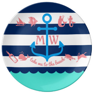 Make Your Own Nautical Summer Fun Anchor Stripes Plate