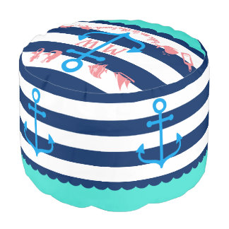 Make Your Own Nautical Summer Fun Anchor Stripes Pouf