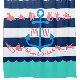 Make Your Own Nautical Summer Fun Anchor Stripes Shower Curtain