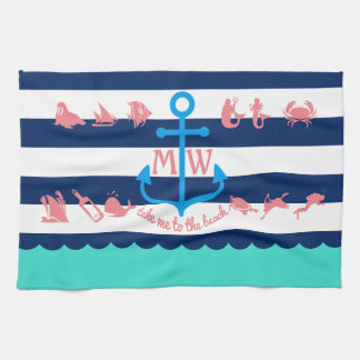 Make Your Own Nautical Summer Fun Anchor Stripes Tea Towel
