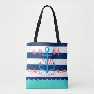 Make Your Own Nautical Summer Fun Anchor Stripes Tote Bag