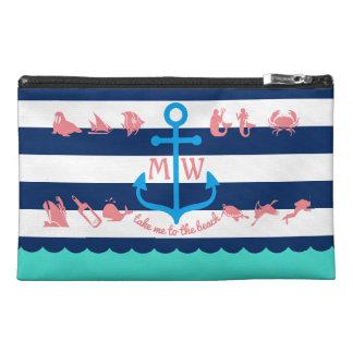 Make Your Own Nautical Summer Fun Anchor Stripes Travel Accessory Bag