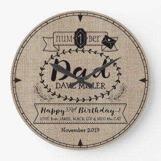 Make Your Own No. 1 Dad Birthday Cute Monogram Large Clock