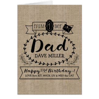 Make Your Own Number 1 Dad Birthday Cute Monogram Card