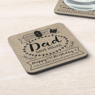 Make Your Own Number 1 Dad Birthday Cute Monogram Coaster