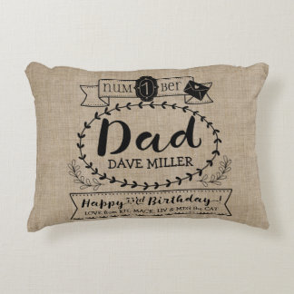 Make Your Own Number 1 Dad Birthday Cute Monogram Decorative Cushion