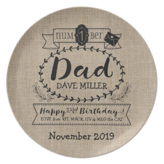 Make Your Own Number 1 Dad Birthday Cute Monogram Dinner Plate
