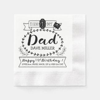 Make Your Own Number 1 Dad Birthday Cute Monogram Disposable Serviette