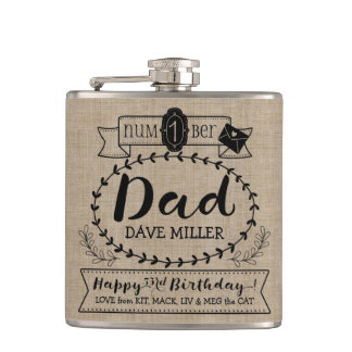 Make Your Own Number 1 Dad Birthday Cute Monogram Hip Flask