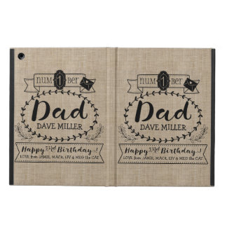 Make Your Own Number 1 Dad Birthday Cute Monogram iPad Air Cover