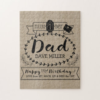 Make Your Own Number 1 Dad Birthday Cute Monogram Jigsaw Puzzle
