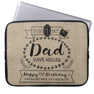 Make Your Own Number 1 Dad Birthday Cute Monogram Laptop Sleeve