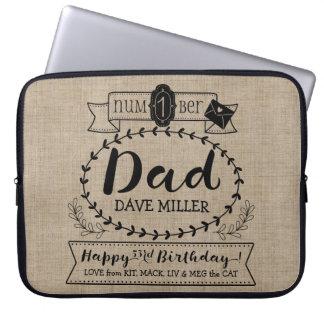 Make Your Own Number 1 Dad Birthday Cute Monogram Laptop Sleeve