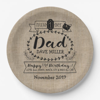 Make Your Own Number 1 Dad Birthday Cute Monogram Paper Plate