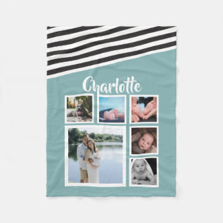 Make Your Own Personalized Teal Striped Unique Fleece Blanket