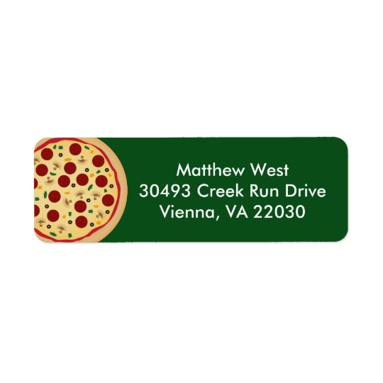 Make Your Own Pizza Birthday Party Return Address Label