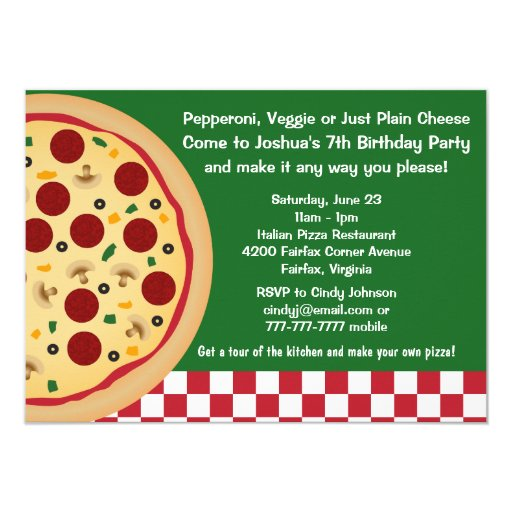 Make Your Own Pizza Kids Birthday Party 11 Cm X 16 Cm
