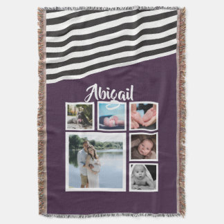 Make Your Own Purple Striped Unique Personalized Throw Blanket