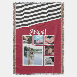 Make Your Own Red Striped Unique Personalized Throw Blanket