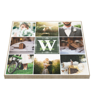 Make Your Own Rustic Wedding Instagram Collage Canvas Print