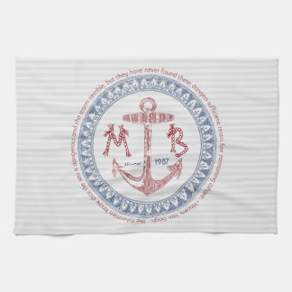 Make Your Own Vintage Anchor Nautical Monogram Tea Towel