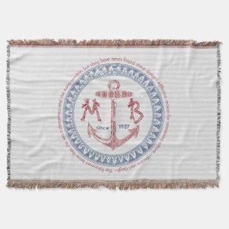 Make Your Own Vintage Anchor Nautical Monogram Throw Blanket