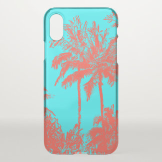 Makena Beach Hawaiian Sketchy Palms Turq iPhone X Case
