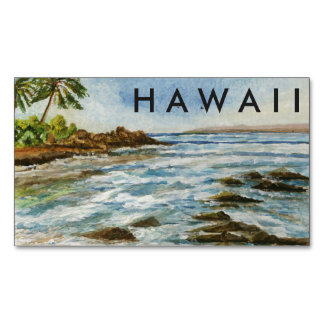 Makena Cove Hawaii Beach Fine Art Watercolor Magnetic Business Cards