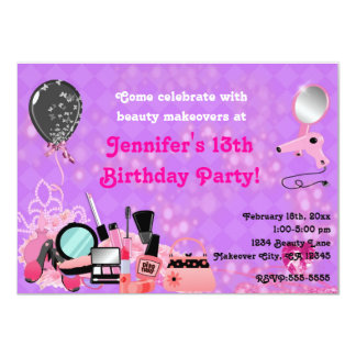 Makeover Makeup Beauty Girls Party Invitations
