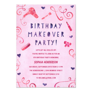 Makeover Party | Pink & Purple Girls Birthday 13 Cm X 18 Cm Invitation Card