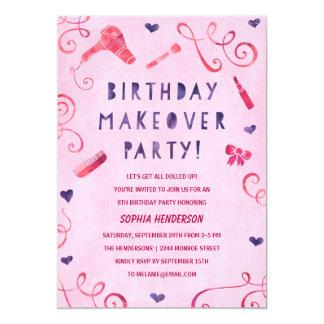 Makeover Party | Pink & Purple Girls Birthday 13 Cm X 18 Cm Invitation Card