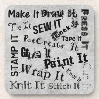 Maker Crafts Typography Crafts Print Coaster
