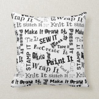 Maker Crafts Typography Print Throw Pillow