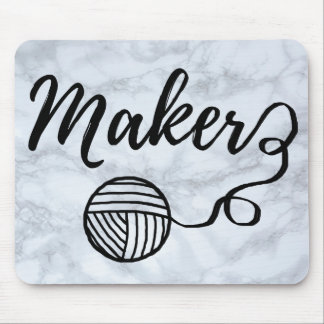 Maker Crafts & Yarn Typography Faux Marble Texture Mouse Pad