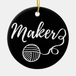 Maker Crafts & Yarn Typography Print Ceramic Ornament