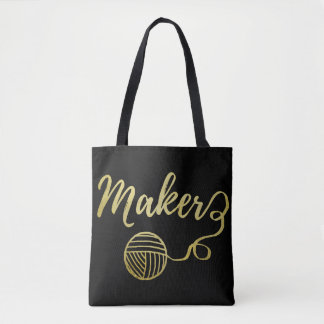 Maker • Yarn & Crafts Typography Faux Gold Tote Bag