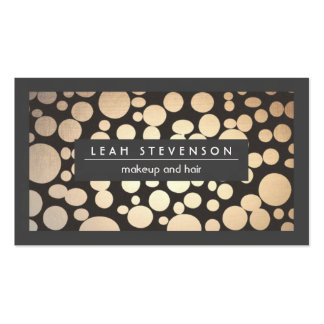 Makeup and Hair Faux Gold Foil  Modern Charcoal Business Card Template