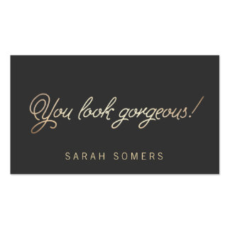 Makeup and Hair Stylist Gold Script Beauty Pack Of Standard Business Cards