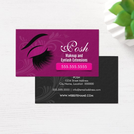 eyelash extension gift certificate template - makeup artist and eyelash extensions business card zazzle