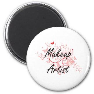 Makeup Artist Artistic Job Design with Butterflies 6 Cm Round Magnet