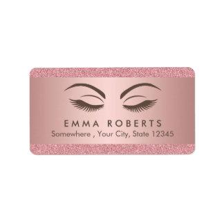 Makeup Artist Beauty Girl Modern Rose Gold Salon Address Label