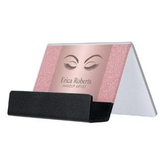 Makeup Artist Beauty Girl Modern Rose Gold Salon Desk Business Card Holder
