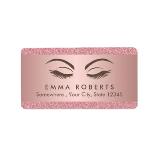 Makeup Artist Beauty Girl Modern Rose Gold Salon Label