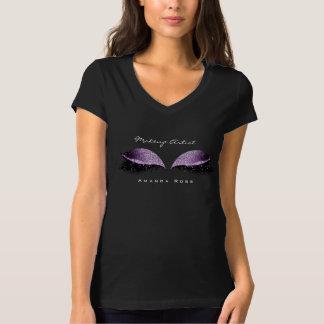 Makeup Artist Beauty Lash Eye Black Grape Glitter T-Shirt