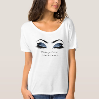 Makeup Artist Beauty Lashes Blue Navy Glitter T-Shirt