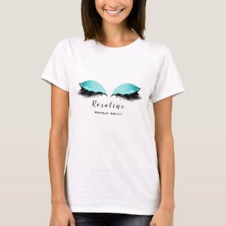 Makeup Artist Beauty Lashes Ocean Mint Glitter T-Shirt