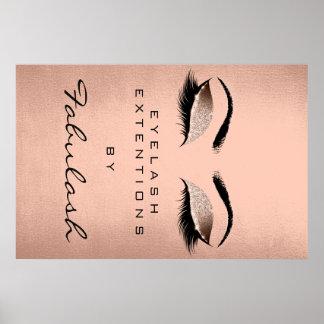 Makeup Artist Beauty Salon Eyebrow Name Rose Gold Poster